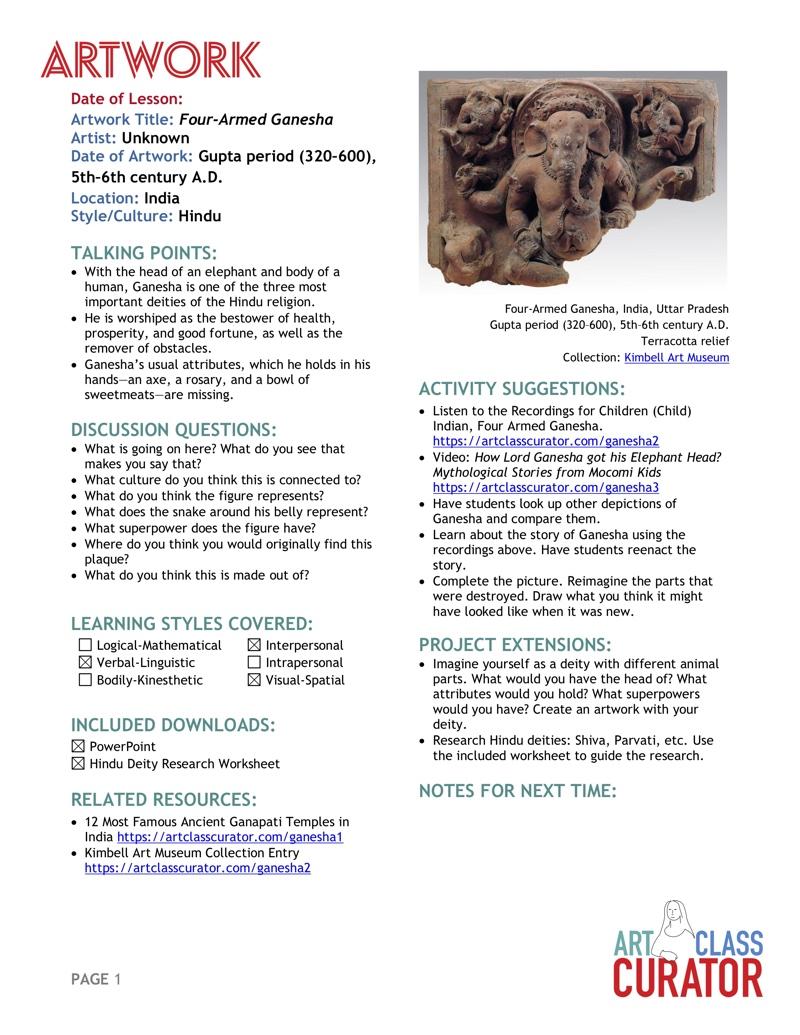 ArtClassCurator-ArtworkoftheWeek-Lesson-FourArmedGanesha